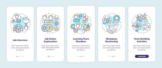 Fasi di adattamento del lavoratore nella schermata della pagina dell'app mobile con concetti. reclutamento. conoscenza con passaggi dettagliati dell'azienda. illustrazioni del modello di interfaccia utente