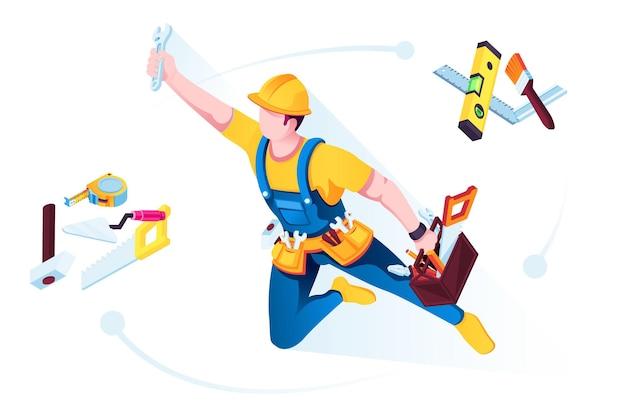 Operaio o muratore in uniforme con attrezzi da costruzione