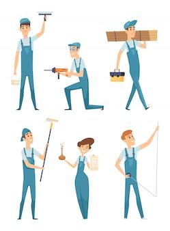 Personaggi dei lavoratori. illustrazioni professionali della mascotte di riparazione della casa degli operai dei costruttori dei costruttori della gente professionale