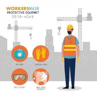 Costruzione del lavoratore che indossa maschera medica contro con l'attrezzatura protettiva