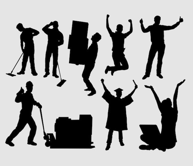 Lavoratore e persone felici gesto silhouette