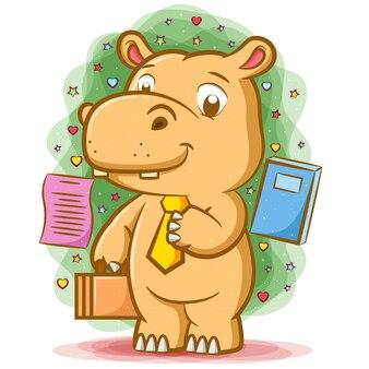 L'ippopotamo operaio che tiene la borsa e usa la cravatta gialla