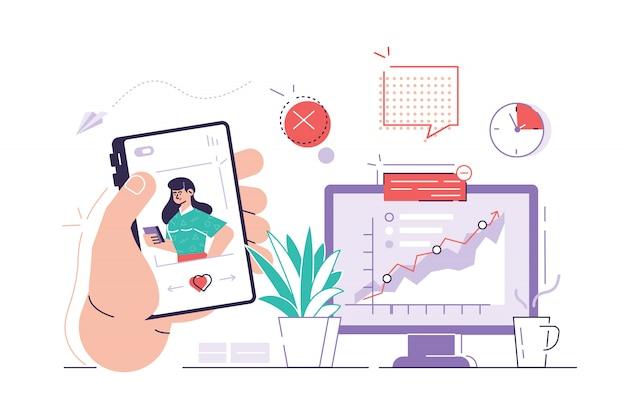 Il lavoratore sta navigando in foto sul suo telefono sui social media mentre è seduto alla sua scrivania dietro il suo computer. concetto di procrastinazione e pigrizia. illustrazione moderna di progettazione di stile piano isolata su bianco