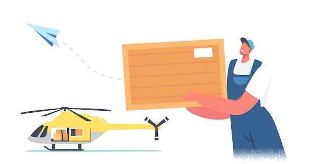 Personaggio maschile del caricatore dell'operaio che carica un pacco sull'elicottero per il trasporto aereo e la consegna di merci