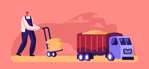 Operaio che carica sacchi con farina su camion, produzione di cereali, produzione, carattere che produce grano