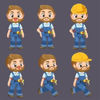 Lavoratore uomo che indossa uniformi e strumenti di equipaggiamento del casco nel personaggio di pockage incartoon, illustrazione piatta isolata