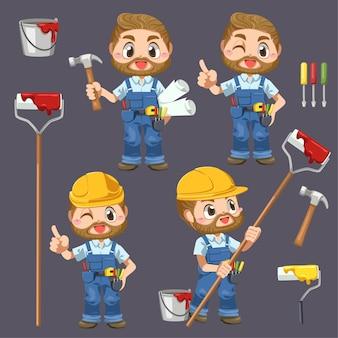 Uomo dell'operaio che indossa l'uniforme e casco che tiene martello e colore della pittura nel personaggio dei cartoni animati, illustrazione piana isolata