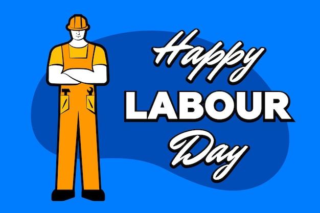 L'uomo dell'operaio con il casco da costruzione giallo e l'iscrizione felice festa del lavoro maggio biglietto di auguri poster
