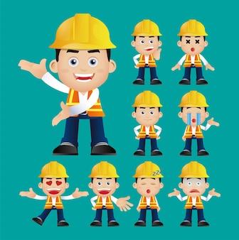 Set di lavoratori diversi gesti ed emozioni