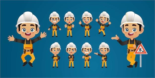 Set di lavoratori. pose e gesti diversi