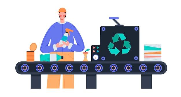 Il lavoratore ordina i rifiuti sulla macchina per il trattamento dei rifiuti