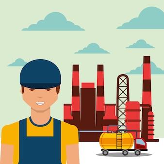 Lavoratore trasporto cisterna camion raffinerie industria petrolifera vegetale