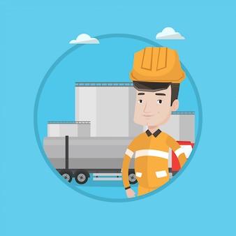 Lavoratore con camion di carburante e impianto di petrolio.