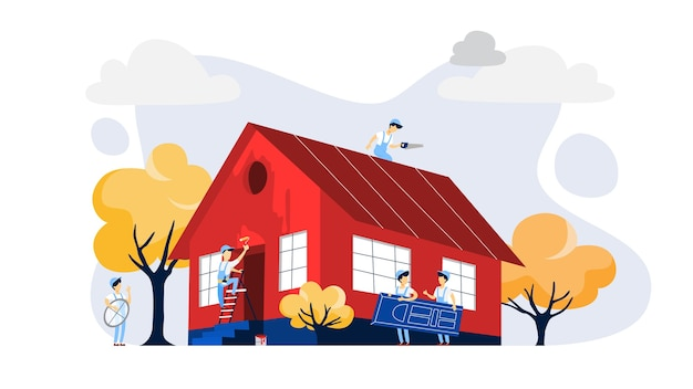 Lavoratori che costruiscono una grande casa rossa. costruzione domestica. pittura murale, installazione di porte e costruzione di tetti. illustrazione