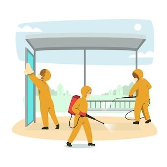Lavoratori che puliscono gli spazi pubblici Vettore Premium