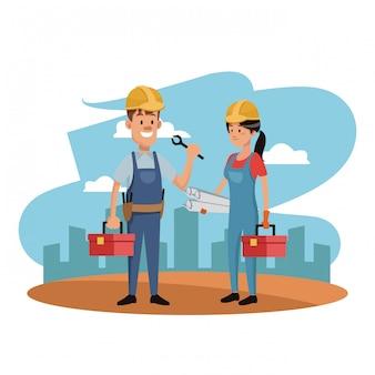 Lavoratori nella zona di costruzione con toolbox