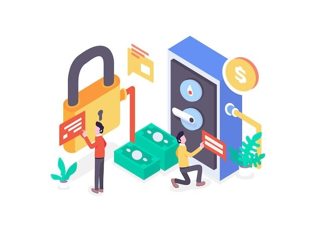 Lavoratori che fanno l'impostazione dei soldi della cassetta di deposito della password di sicurezza finanziaria isometrica