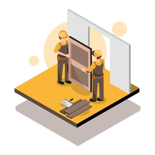 Lavoratori che installano una porta