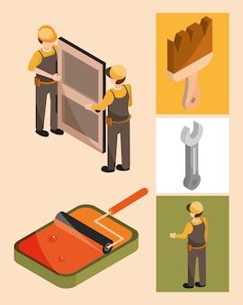 I lavoratori dipingono e installano