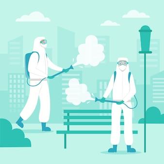 Lavoratori che forniscono servizi di pulizia Vettore Premium