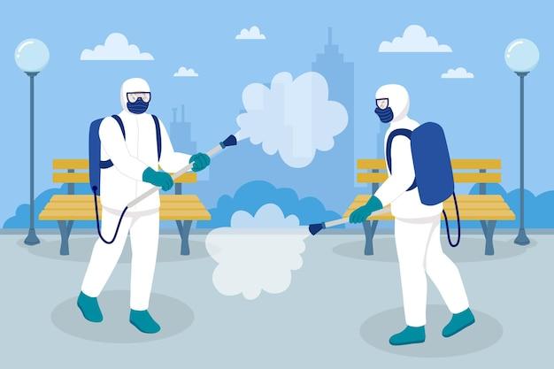 Lavoratori che forniscono servizi di pulizia nelle aree pubbliche Vettore Premium