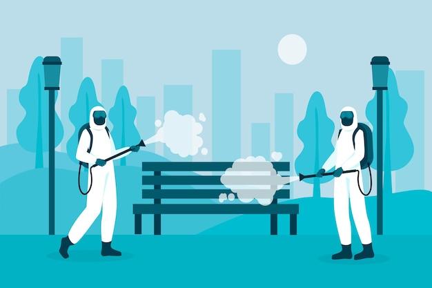 Lavoratori che forniscono servizi di pulizia negli spazi pubblici Vettore Premium