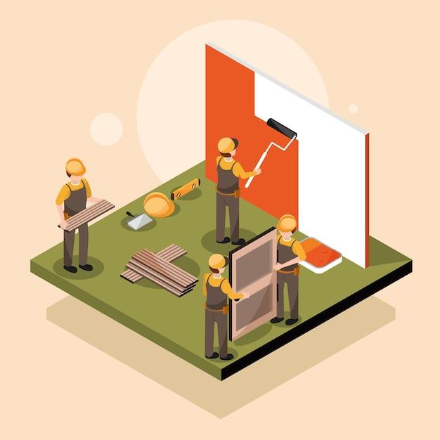 Isometrica di ristrutturazione dei lavoratori