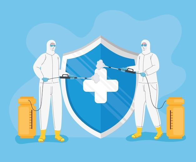 Lavoratori che indossano tute a rischio biologico e illustrazione di protezione dello scudo