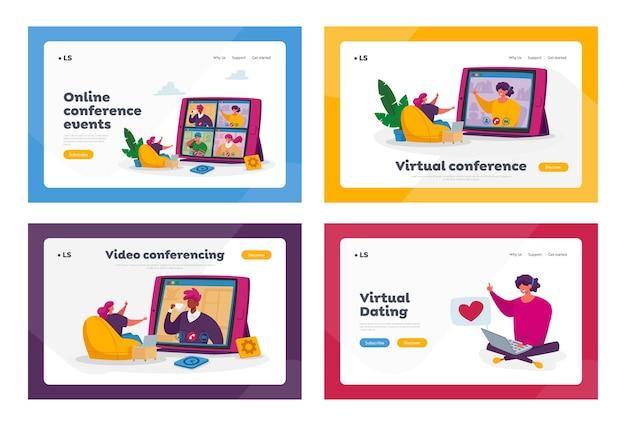 Insieme di modelli di pagina di destinazione della conferenza di gruppo di webcam dei lavoratori.