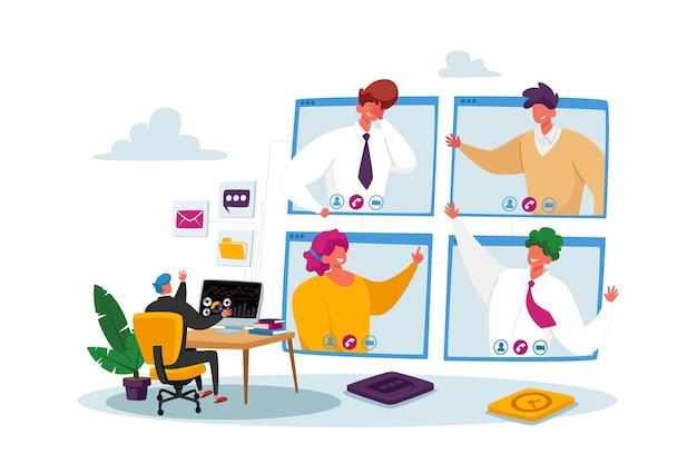 Conferenza di gruppo di webcam dei lavoratori con i colleghi su un computer enorme
