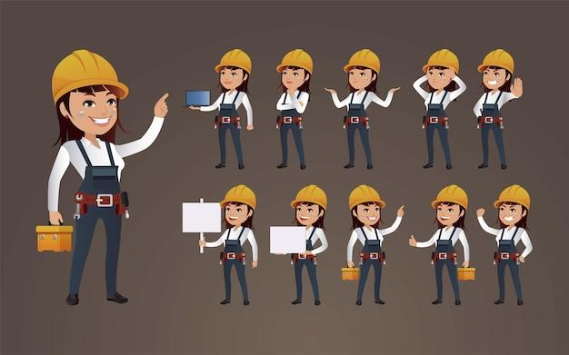 Lavoratori con pose diverse.