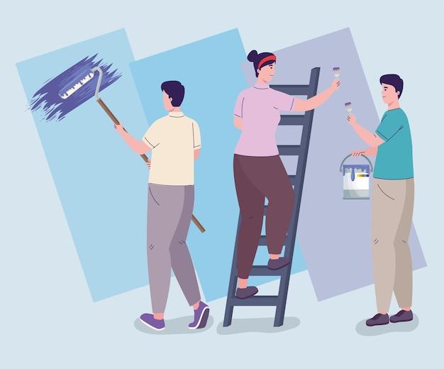 Lavoratori con team di rimodellamento vernice
