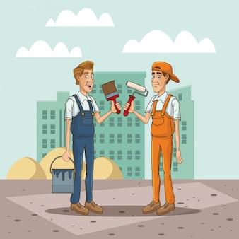 Lavoratori con strumento sul paesaggio urbano dei cartoni animati