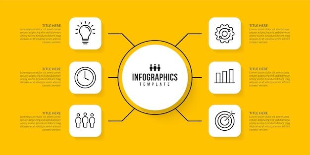 Progettazione del modello di infografica del flusso di lavoro con 6 opzioni di sfondo concetto di visualizzazione dei dati aziendali