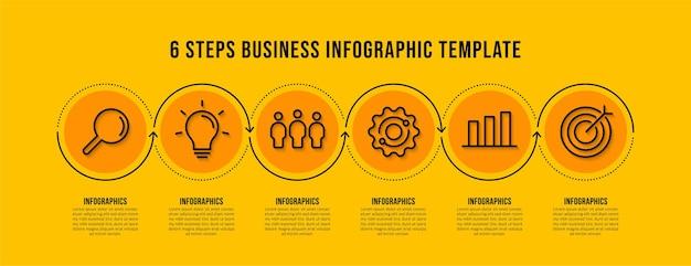 Progettazione del modello di infografica del flusso di lavoro con 6 opzioni su sfondo giallo, concetto di visualizzazione dei dati aziendali