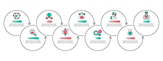 Grafico dei passaggi del flusso di lavoro. grafico di produttività, fasi del processo aziendale e concetto di layout infografica diagramma di flusso