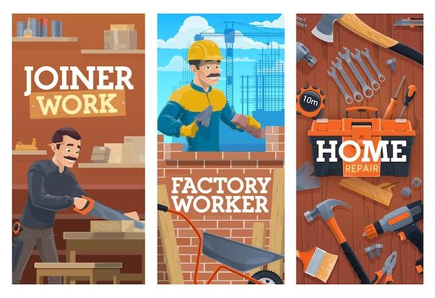 Builder e falegname di lavoro, costruzione e banner di strumenti di riparazione domestica. muratore posa mattoni con cazzuola, falegname o falegname in officina, tagliere di legno con sega, strumenti di costruzione