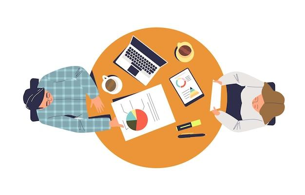 Processo aziendale di lavoro con due colleghi seduti insieme illustrazione