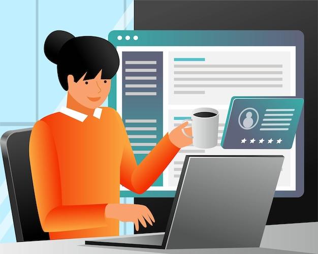 Lavorare al computer bevendo caffè