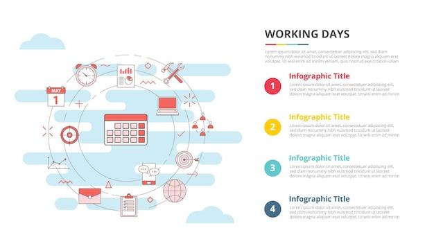 Concetto di giorni lavorativi per banner modello infografico con vettore di informazioni sull'elenco a quattro punti