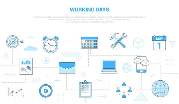 Concetto di giorni lavorativi con l'insegna del modello dell'insieme di icone con l'illustrazione moderna di vettore di stile di colore blu blue