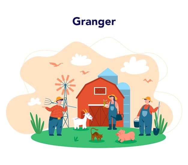 Lavorando in una fattoria, concetto di agricoltore