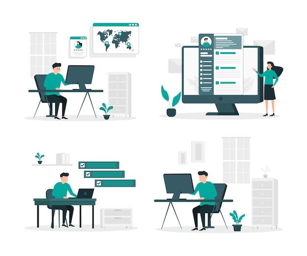 Set di illustrazione piatto di lavoro