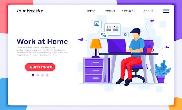 Lavorando dal concetto di casa, un uomo lavora al laptop, resta a casa durante la quarantena durante l'epidemia di coronavirus. modello di progettazione della pagina di destinazione del sito web
