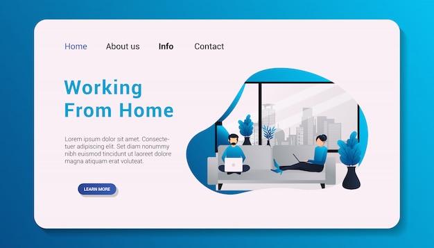 Lavorando da home landing page design piatto illustrazione