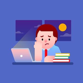 Lavorare duramente con lo stress di notte