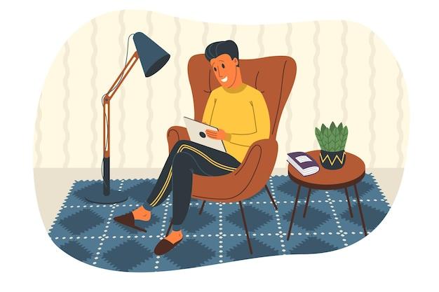 Lavorare a casa concetto illustrazione vettoriale. webinar, riunioni online, videoconferenze, telelavoro, distanziamento sociale. uomo libero professionista che lavora su tablet, laptop e computer a casa in quarantena