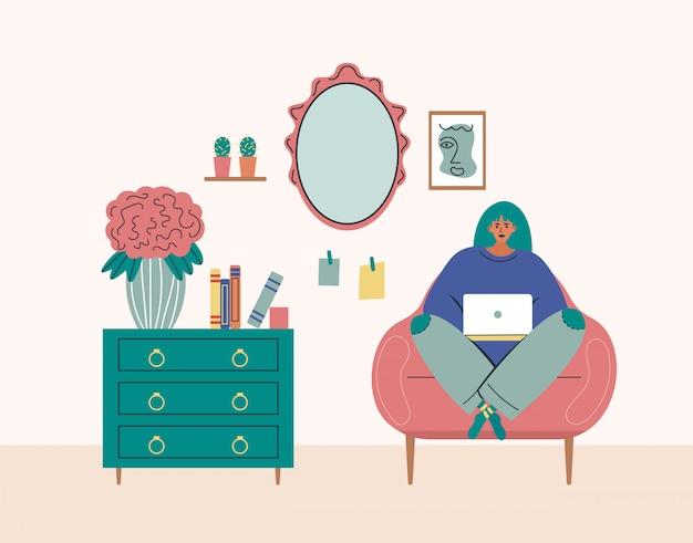 Lavorare a casa, spazio di coworking, illustrazione di concetto. liberi professionisti della giovane donna che lavorano ai computer portatili e ai computer a casa. persone a casa in quarantena. illustrazione di stile piatto