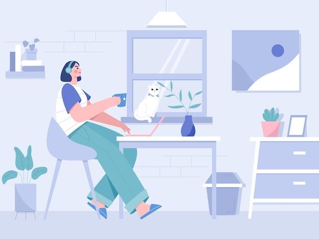 Lavorare a casa illustrazione piatta