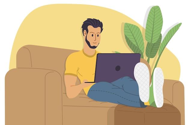 Lavorare a casa, guardare webinar, riunione online piatta illustrazione vettoriale. videoconferenza, telelavoro, distanziamento sociale, discussioni di lavoro, studio. l'uomo con il computer portatile è sdraiato sul divano.